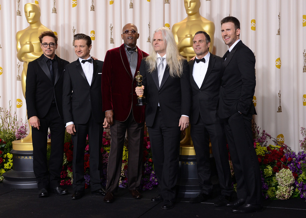 Description of . Cast of The Avengers with Claudio Miranda backstage at the 85th Academy Awards at the Dolby Theatre in Los Angeles, California on Sunday Feb. 24, 2013 ( David Crane, staff photographer)