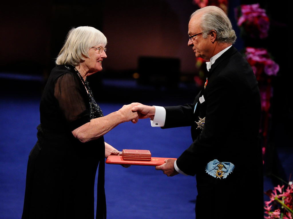 . Dr. Ruth Edwards, wife and colleague of the 2010 Nobel Medicine laureate Professor Robert G. Edwards of Britain, receives the Nobel Prize in Medicine from King Carl XVI Gustaf of Sweden (R) during the Nobel prize award ceremony at the Stockholm Concert Hall in Stockholm on December 10, 2010. (Claudio Bresciani/AFP/Getty Images)