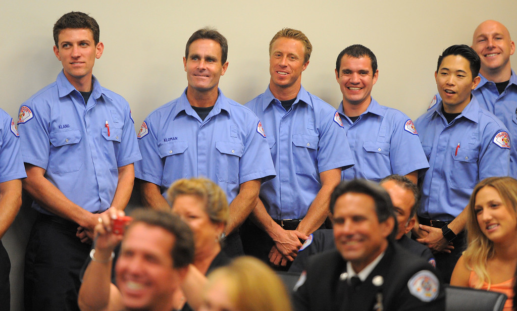 . LONG BEACH - 08/02/2013  (Photo: Scott Varley, Los Angeles News Group)  25 new ambulance drivers graduated from the Long Beach Fire Department\'s two week training academy and received their LBFD badges during a short ceremony. Graduates, from left, Rober Klang, Sean Kloman, Dodger Kremel, Sergio Lara, James Lin and Kevin Linehan wait for their names to be called to receive their badges.