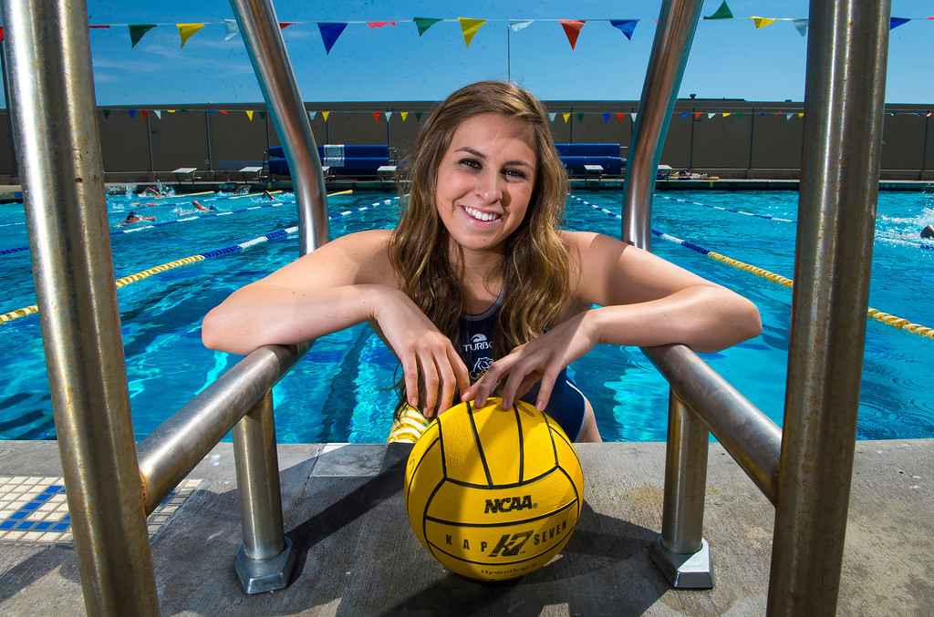 Description of . Kristen Jensen of Los Osos High School, is the Player of the Year and has been named to The Sun's All-Valley Girl's water polo team. Photo by Frank Perez, for The Sun.