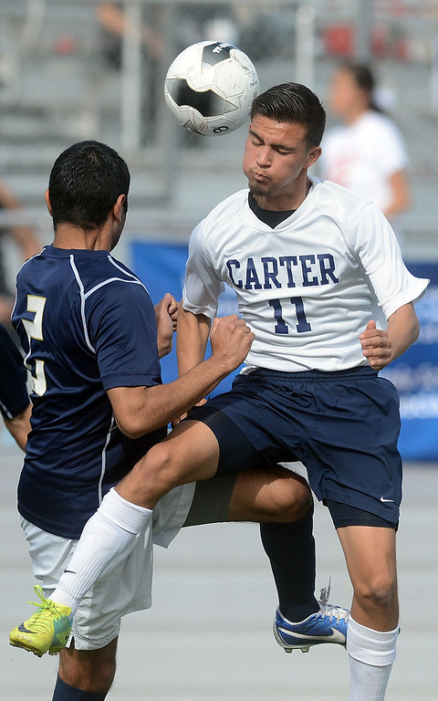 . (Will Lester/Staff Photographer) Carter High School falls to Animo Leadership, from Inglewood, 3-1 Saturday March 2, 2013 in the 2013 Division 6 CIF-Southern Section Boys Soccer Championship at Corona High School.