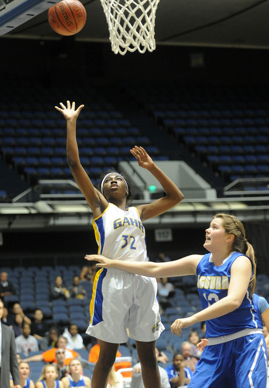 . 02-27-2012--(LANG Staff Photo by Sean Hiller)- Gahr vs. Agoura in Wednesday\'s girls basketball D3AAA title game at Anaheim Arena.