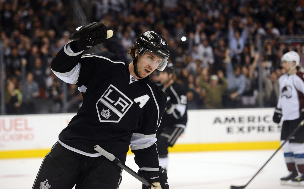 . The Kings\' Mike Richards #10 reacts after scoring a first period goal during their game against the Avalanche at the Staples Center Thursday, April 11, 2013.(Hans Gutknecht/Staff Photographer)