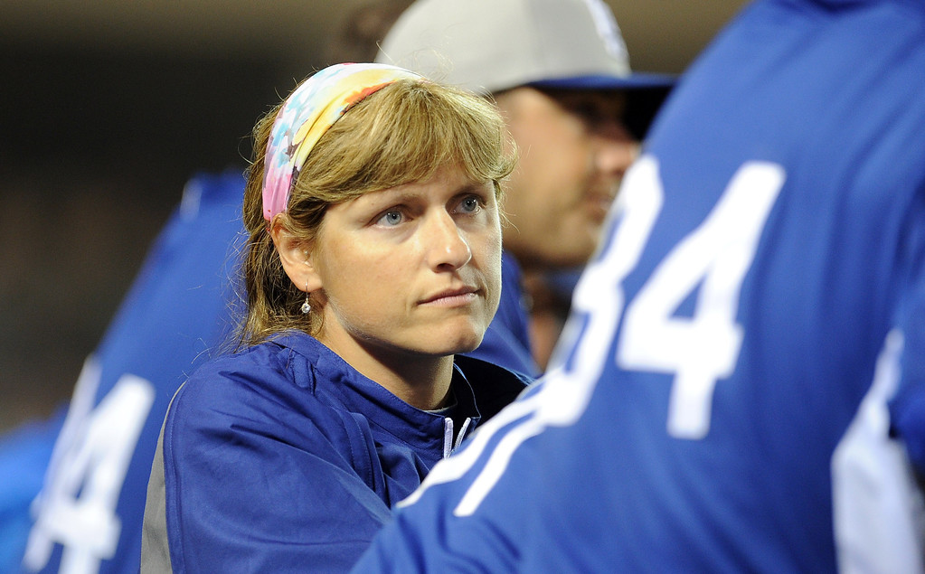 . Los Angeles Dodgers head trainer Sue Falsone in the sixth inning of a spring baseball game against the Los Angeles Angels on Thursday, March 28, 2012 in Anaheim, Calif.   (Keith Birmingham/Pasadena Star-News)