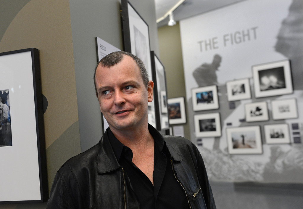 . Ashley Gilbertson, one of the contributing photographers in WAR/Photography - Images of Armed Conflict and its Aftermath. Photography exhibit at the Annenberg Space for Photography. Photo by Brad Graverson 3-20-13