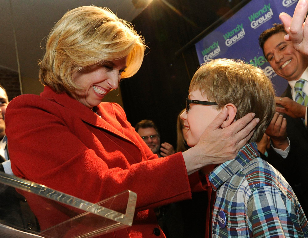 . Wendy Greuel looks at her son Thomas Schramm after taking the stage to give her speech. Greuel held her election night party at the Los Angeles Brewing Company in downtown Los Angeles, CA 3/5/2013(John McCoy/Staff Photographer)