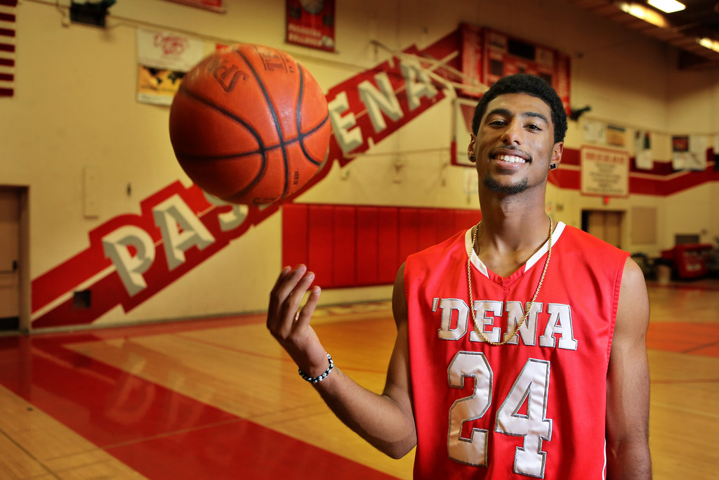 Description of . Portrait of Pasadena High School basketball player Andre Spight who has been named Player of the Year. ( Pasadena Star-News Correspondent Photo by Nancy Newman )