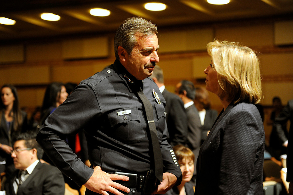 . LAPD Chief Charlie Beck talks with City Controller Wendy Crontroller Wendy Greuel before Mayor Antonio Villaraigosa\'s State of the City address at UCLA, Tuesday, April 9, 2013. (Michael Owen Baker/Staff Photographer)
