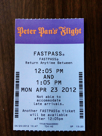 Peter Pan FastPass Ticket - Magic Kingdom