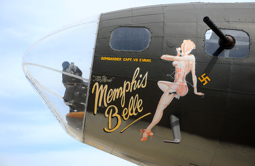 """. LONG BEACH - 03/25/2013  (Photo: Scott Varley, Los Angeles Newspaper Group)  The Liberty Foundation\'s Boeing B-17 \""""Memphis Belle\"""" is one of only 13 B-17\'s still flying today out of nearly 13,000 built for service in World War II. The \""""Memphis Belle\"""" will be at Long Beach Airport for Saturday flights and tours and it took a few people for a quick tour over Long Beach on Monday."""