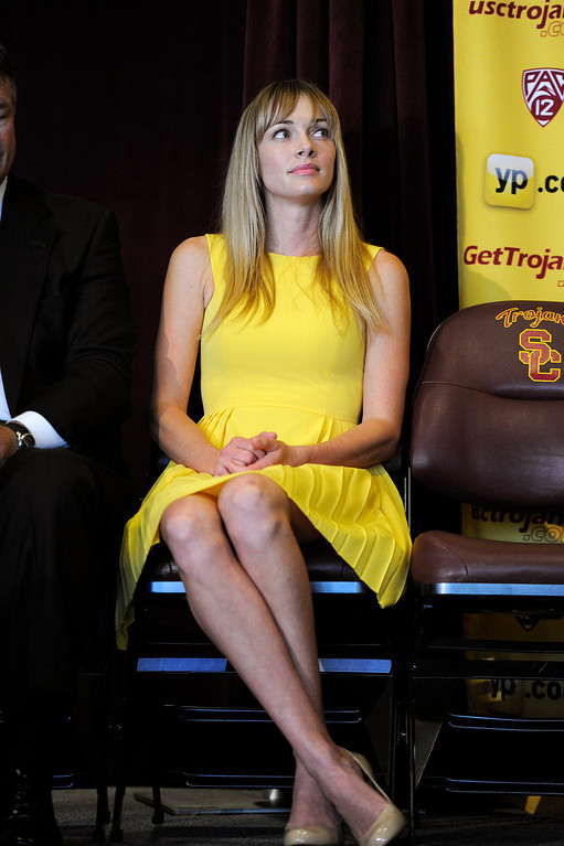 . Amanda Marcum Enfield, the wife of USC\'s new men�s basketball coach Andy Enfield watches the press conference at Galen Center, Wednesday, April 3, 2013. (Michael Owen Baker/Staff Photographer)
