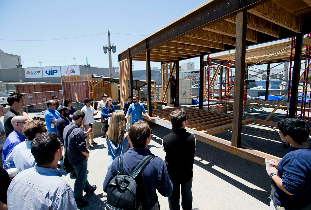 Description of . Sci-Arc and Caltech team give a tour of their sustainable home, DALE, a solar-powered house on rails at Southern California Institute in Los Angeles on Wednesday, May 29, 2013. DALE will be entered in the Solar Decathlon energy competition in October. (SGVN/Staff photo by Watchara Phomicinda)