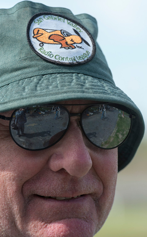 . Jerry Swaim of Covina wears a club logo hat.  The San Gabriel Valley Radio Control League members fly their planes at Whittier Narrows Recreation Area Feb. 21, 2013 practicing for the upcoming Basin Q40 Classic pylon racing event at Apollo Field in the Sepulveda Basin this weekend.  (SGVN/Staff photo by Leo Jarzomb)