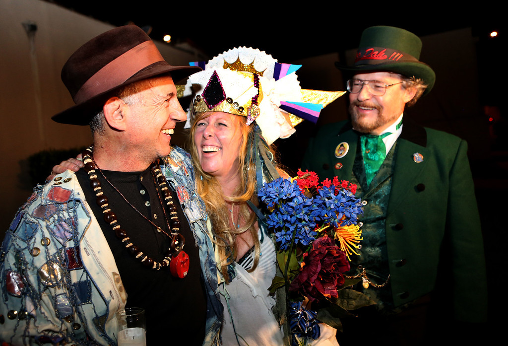 . Doo Dah Parade Grand Marshall Alan Zorthian at left, celebrates with the newly crowned Doo Dah Queen, Susann Edmonds, and Doo Dah emcee Doug Larner. Auditions for the role of Doo Dah Queen, were held at the American Legion Bar in Pasadena on Sunday, April 7, 2013.  The event was attended by hopeful contestants, judges, and fans of the parade.  ( Photo by Nancy Newman / Pasadena Star-News correspondent )