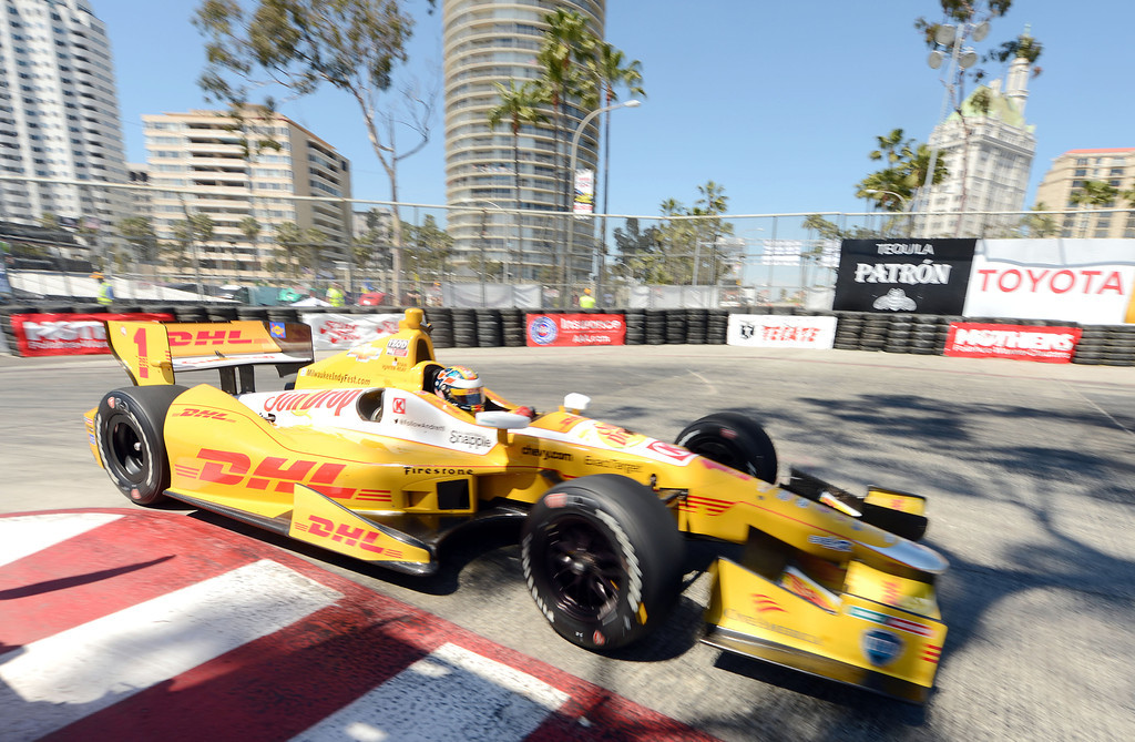 . (Will Lester/Staff Photographer)  Indycar driver Ryan Hunter-Reay drives through the hairpin during the Friday afternoon practice session April 19, 2013 at the 39th annual Toyota Grand Prix of Long Beach.