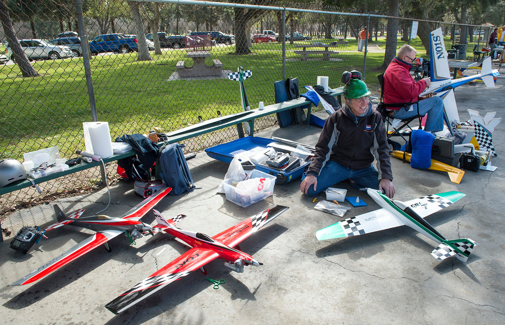 . The San Gabriel Valley Radio Control League members fly their planes at Whittier Narrows Recreation Area Feb. 21, 2013 practicing for the upcoming Basin Q40 Classic pylon racing event at Apollo Field in the Sepulveda Basin this weekend.  (SGVN/Staff photo by Leo Jarzomb)