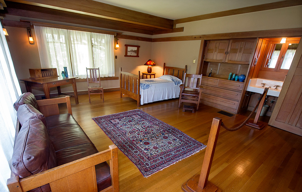 "Description of . Guest bedroom at the Gamble House Tuesday, July 16, 2013. Fans of the BBC's ""Upstairs/Downstairs"" and ""Downton Abbey"" can get a rare, behind-the-scenes look at the real deal when the Gamble House, located at  4 Westmoreland Place in Pasadena. The Gamble House opens up its servants quarters for three weeks only, beginning Aug. 1. The tour is based on new findings about the Gamble family and its servants. Part of the first floor will be closed on the tour due to renovations.(SGVN/Photo by Walt Mancini)"