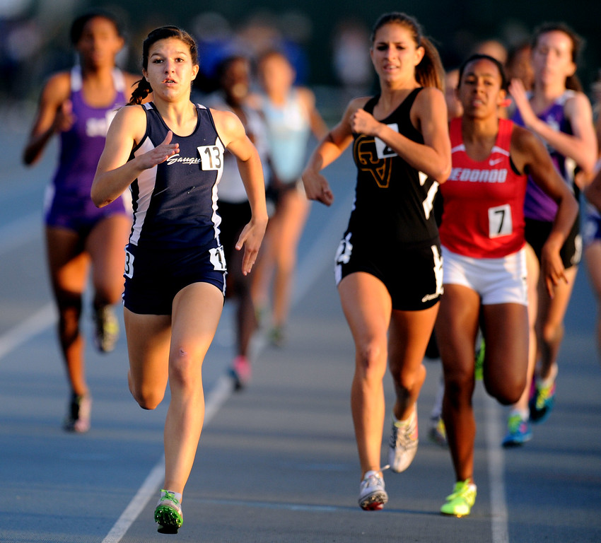 . Saugus\'s Sabrina Janes wins the 800 meter race during the CIF-SS Masters Meet at Cerritos College on Friday, May 24, 2013 in Norwalk, Calif.  (Keith Birmingham Pasadena Star-News)