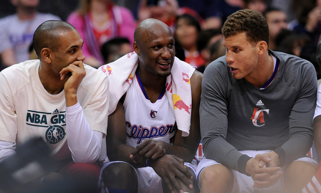 . Clippers Grant Hill, Lamar Odom and Blake Griffin sat out much of the 4th quarter. The Clippers defeated the Minnesota Timberwolves 111-95 in a game played at Staples Center in Los Angeles, CA 4/10/2013(John McCoy/Staff Photographer