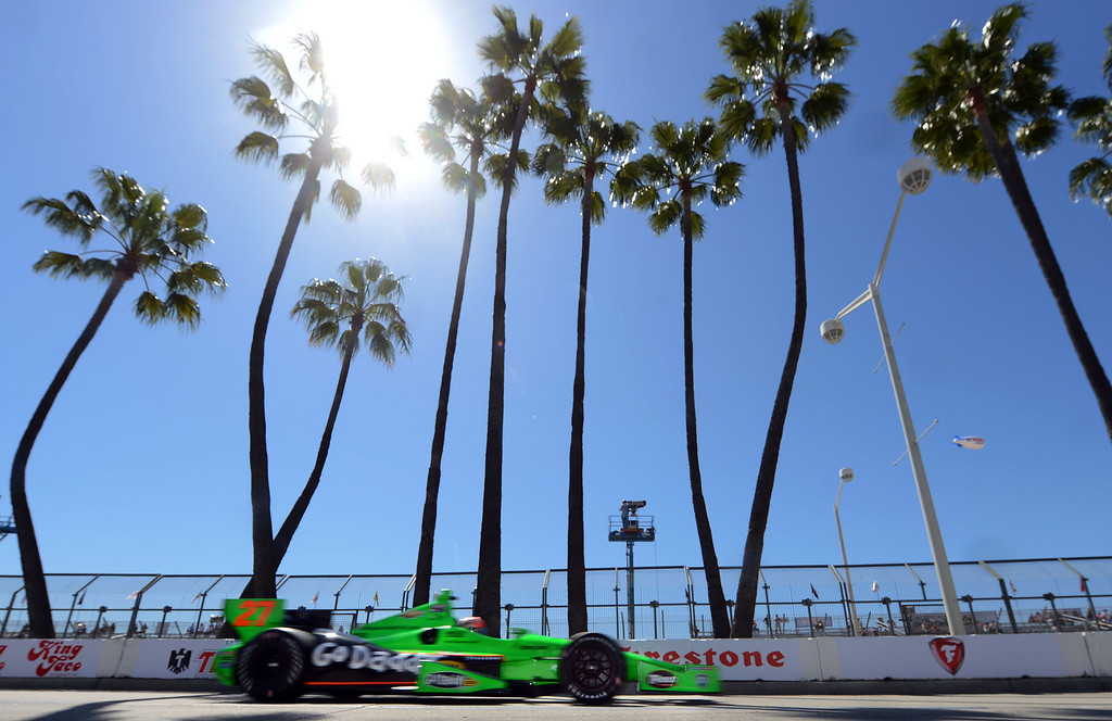 . (Will Lester/Staff Photographer)  Indycar driver James Hinchcliffe leaves the pits Friday morning April 19, 2013 at the 39th annual Toyota Grand Prix of Long Beach.