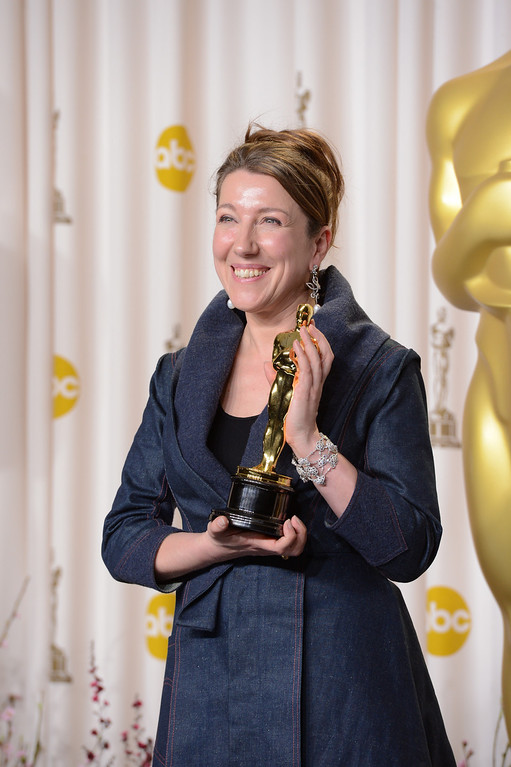". Jacqueline Durran accepts the award for best costume design for ""Anna Karenina\""backstage at the 85th Academy Awards at the Dolby Theatre in Los Angeles, California on Sunday Feb. 24, 2013 ( David Crane, staff photographer)"