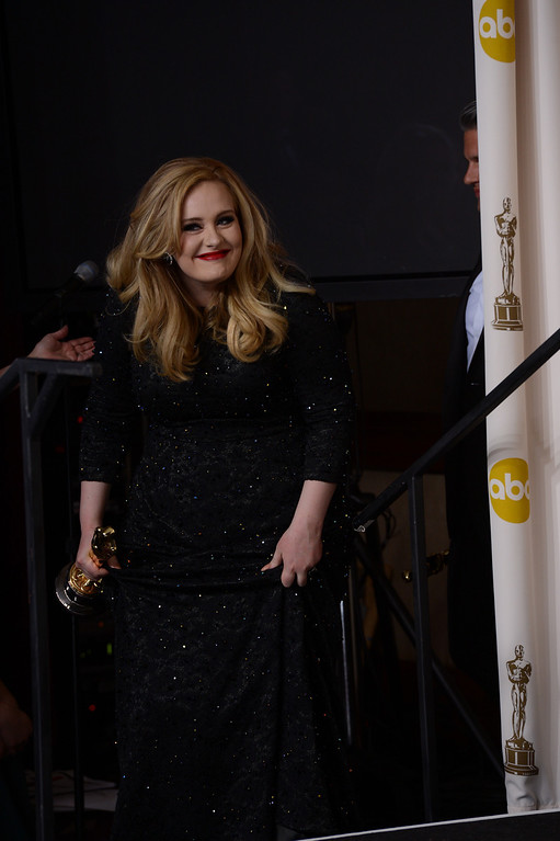 ". Singer Adele won the award for best original song for ""Skyfall\"" from \""Skyfall\"" backstage at the 85th Academy Awards at the Dolby Theatre in Los Angeles, California on Sunday Feb. 24, 2013 ( David Crane, staff photographer)"