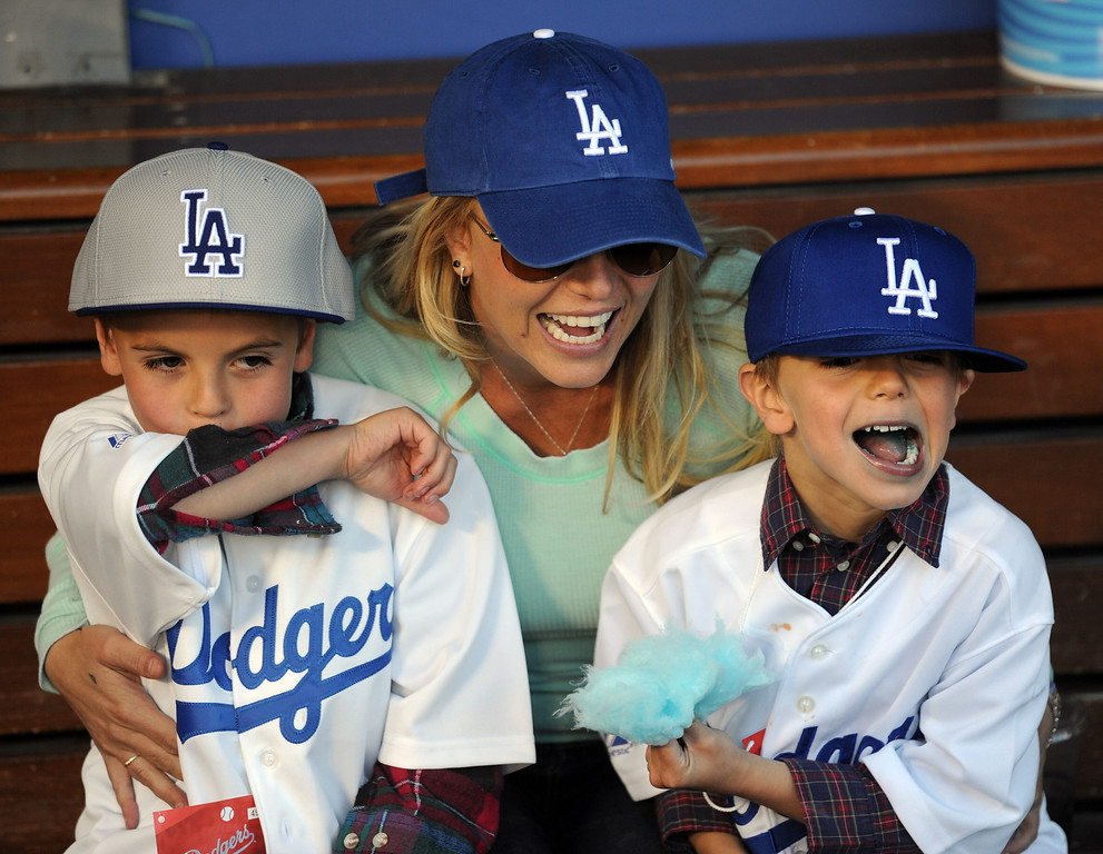 . Singer Brittany Spears with her kids Preston, left, Jayden, prior to a baseball game between the San Diego Padres and the Los Angeles Dodgers on Wednesday, April 17, 2013 in Los Angeles.   (Keith Birmingham/Pasadena Star-News)