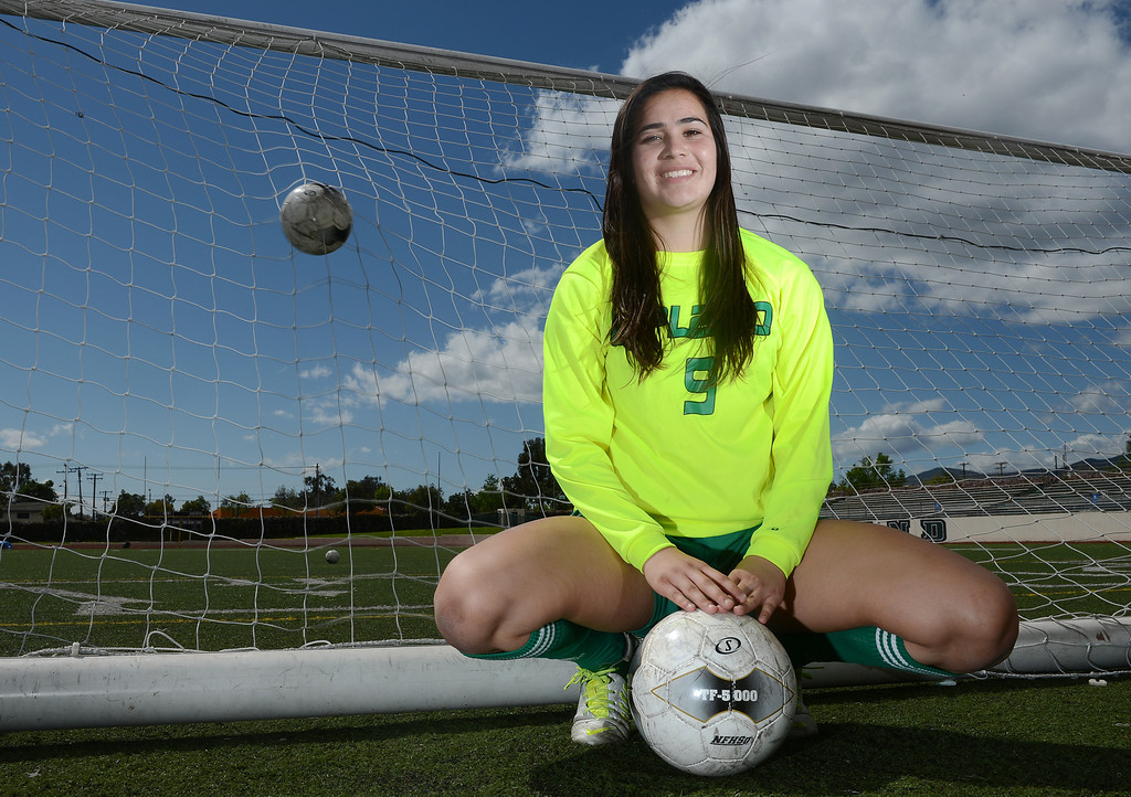 Description of . Tanya Samarzich of Upland High School is the player of the year and has been named to The Sun's All-Valley Girl's soccer team. Staff photo by Will Lester.