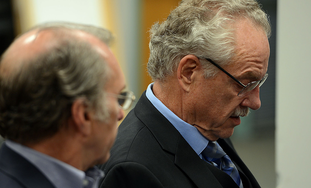 . Fred Shorett, left, a San Bernardino city councilman, speaks with Sherman Ballard, son-in-law of murder victim Wanda Paulin, at the press conference where police announced the arrest of Jerome Anthony Rogers, 55, of San Bernardino in the killing of Mary Beth Blaskey. Paulin\'s killer remains at large. Rick Sforza/Staff photographer