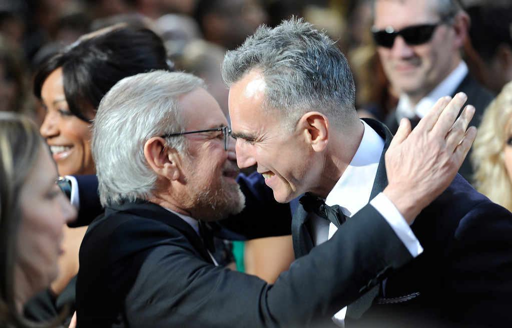 . Steven Spielberg  and Daniel Day-Lewis arrives at the 85th Academy Awards at the Dolby Theatre in Los Angeles, California on Sunday Feb. 24, 2013 ( Hans Gutknecht, staff photographer)