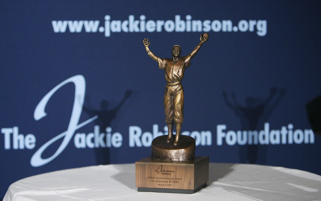 Description of . NEW YORK - MARCH 03:  Close-up of the Jackie Robinson award at the 35th Anniversary of the Jackie Robinson Foundation hosted by Bill Cosby at the Waldorf Astoria hotel on March 3, 2008 in New York City.  (Photo by Bryan Bedder/Getty Images for the Jackie Robinson Foundation)