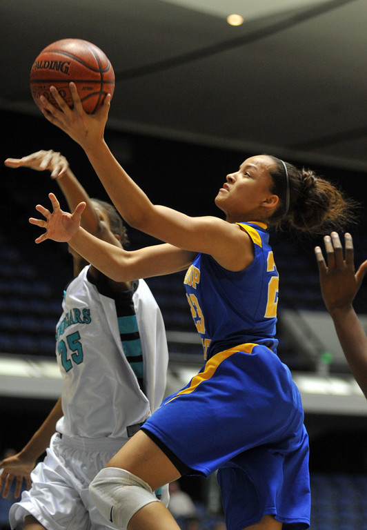 Description of . Bishop Amat's Mauriana Clayton (#23) goes up for a shot as they play Canyon Springs in the CIF-SS Division 1A girls basketball finals at the Anaheim Arena on Friday March1, 2013. Canyon Springs beat Bishop Amat 48-46. (SGVN/Staff Photo by Keith Durflinger)