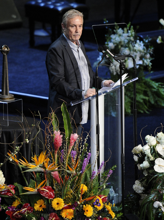 . Johnny Buss speaks at the service.  Family, friends current and former Lakers players and coaches attended a memorial service at the Nokia Theatre for Laker owner Jerry Buss who passed away on Monday, 2/18/2013 as a result of cancer. Los Angeles, CA 2/21/2013 John McCoy/Staff Photographer