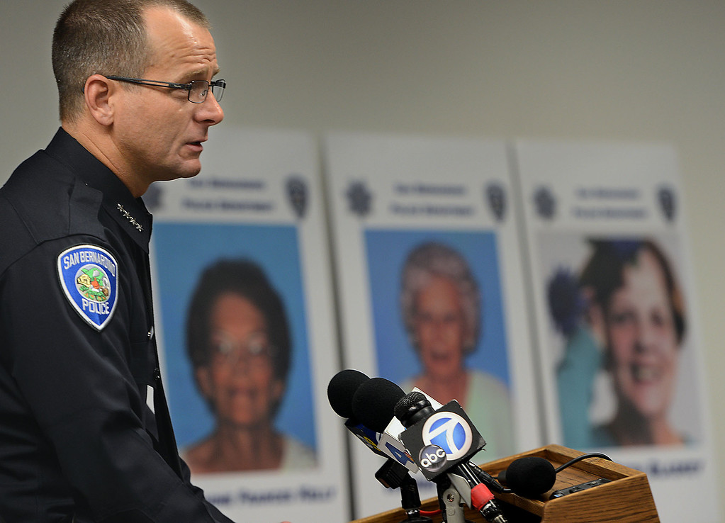 . Jerome Anthony Rogers, 55, of San Bernardino, a registered sex offender, was arrested Friday and booked into West Valley Detention Center in Rancho Cucamonga in the killing of Mary Beth Blaskey, said San Bernardino police Chief Robert Handy. Handy said investigators suspect there is at least one other person involved in the slaying. Rick Sforza/Staff photographer