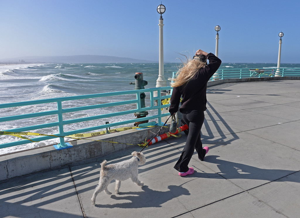 . It was a bad hair day along the coast Monday with high winds and flowing locks. Karen Payne holds onto her hat and her dog Gally (cq) as her long blonde locks fly in the wind on the Manhattan Beach Pier. Photo by Brad Graverson 4-8-13