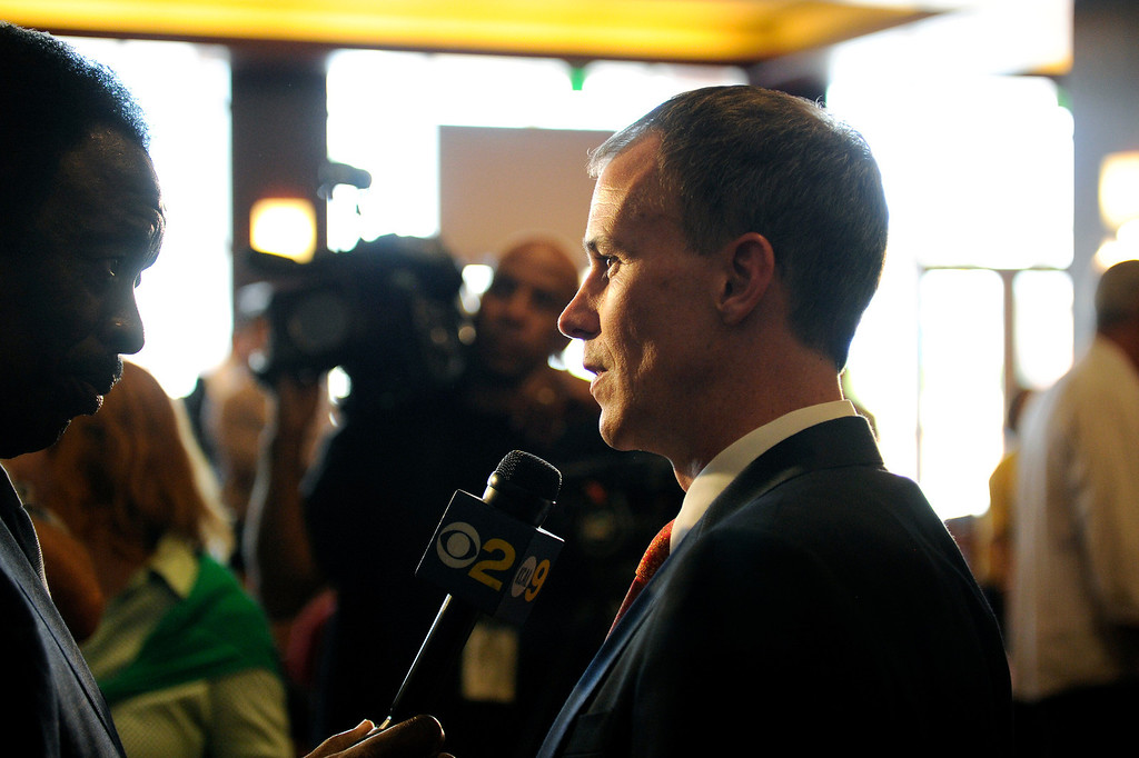 . USC\'s new men�s basketball coach Andy Enfield is interviewed following a press conference at Galen Center, Wednesday, April 3, 2013. (Michael Owen Baker/Staff Photographer)