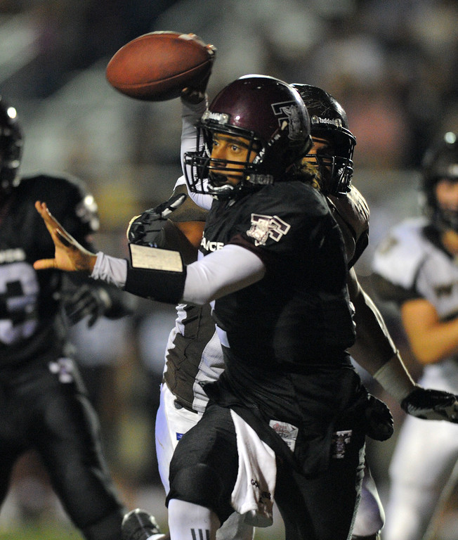 . West High takes on Torrance in a non league football game at Zamperini Stadium in Torrance, CA on Thursday, September 12, 2013. Torrance QB Gabe Gonsalves. (Photo by Scott Varley, Daily Breeze)