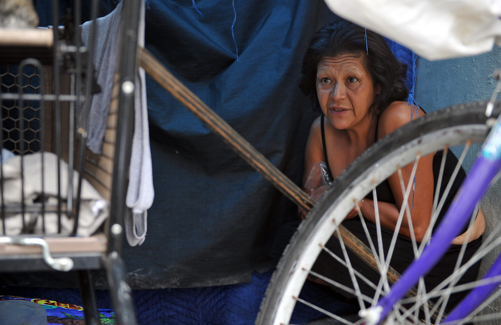 . 8/5/13 - Diane Lopez, 53,  has been living near a storm drain along the LA Riverbed and the 710 Freeway for more than a year. Lopez can\'t remember the last time she had a home. Like many in her situation Lopez battles mental illness making it difficult to follow through on accessing resources. She says life along riverbed allows her privacy but not much safety. The area is not as populated as years past but those facing chronic homelessness can still be found living under the bridges and in encampments. The county cleaned out the area in March 2013 and has stayed on top of the brush clearance and clean-up. Photo by Brittany Murray / Staff Photographer
