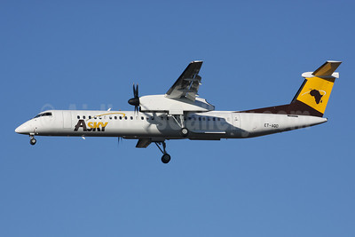 ASky Airlines (Togo) (Ethiopian Airlines) Bombardier DHC-8-402 ET-AQD (msn 4427) STN (Terry Wade). Image: 910082.