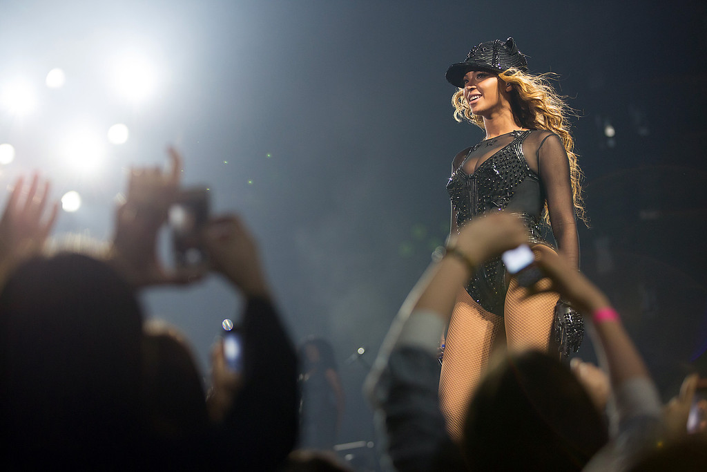 """. Singer Beyonce performs on the opening night of her \""""Mrs. Carter Show World Tour 2013\"""", on Monday, April 15, 2013 at the Kombank Arena in Belgrade, Serbia. Beyonce is wearing  custom hand beaded outfit by Givenchy. (Photo by Yosra El-Essawy/Invision for Parkwood Entertainment/AP Images)"""