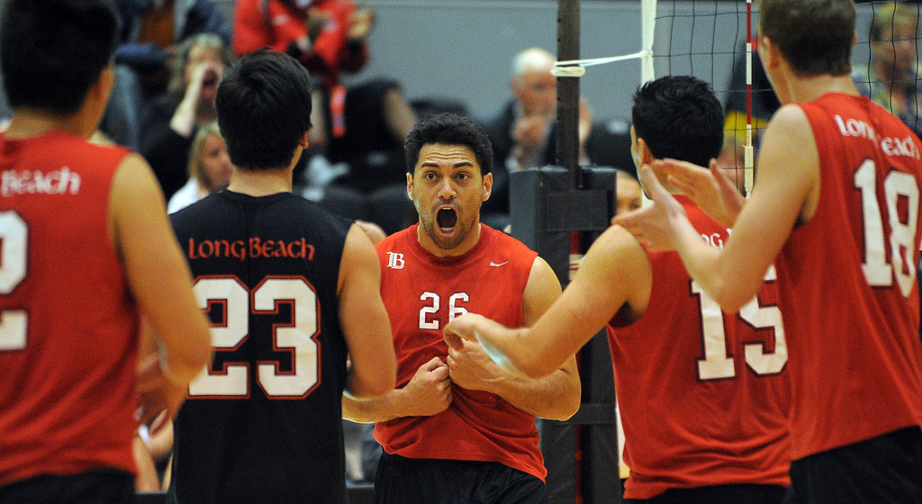 . LONG BEACH - 04/16/2013  (Photo: Scott Varley, Los Angeles Newspaper Group)  Long Beach City College defeated Orange Coast College to advance to the semifinal in the state mens volleyball playoffs. LBCC players celebrate a point by Greg Utupo, center.