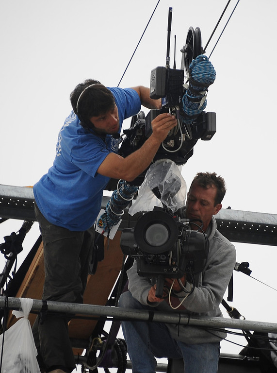 . Camera men get the high wire came ready for live coverage during the 2013 Vans US Open of Surfing Sunday at Huntington Beach CA. July 27,2013. Photo by Gene Blevins/LA DailyNews