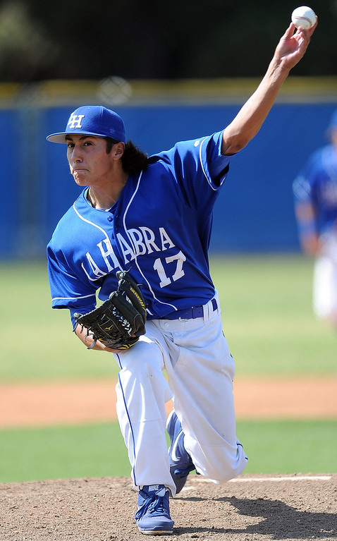 . La Habra starting pitcher Anthony Acosta throws to the plate in the first inning of a prep baseball game against Bonita at La Habra High School on Tuesday, April 2, 2013 in La Habra, Calif. Bonita won 8-2.  (Keith Birmingham Pasadena Star-News)