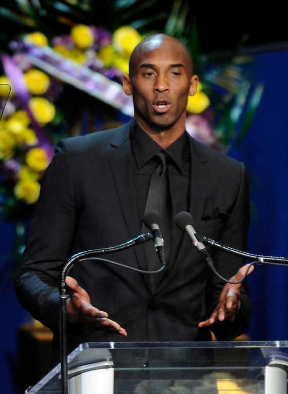 . Kobe Bryant speaks at the Jerry Buss Memorial Service at Nokia Theatre, Thursday, February 21, 2013. (Michael Owen Baker/Staff Photographer)