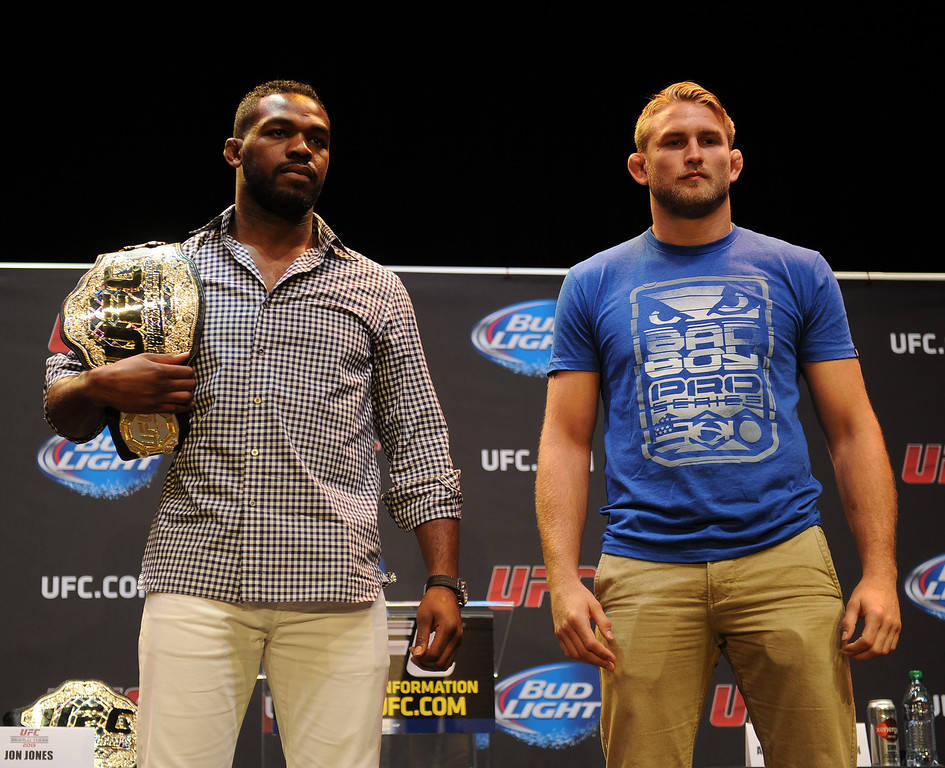 . UFC light heavyweight champion Jon Jones with challenger Alexander Gustafsson during the UFC World Tour at Club Nokia Tuesday, July 30, 2013 in Los Angeles. (Hans Gutknecht/Los Angeles Daily News)