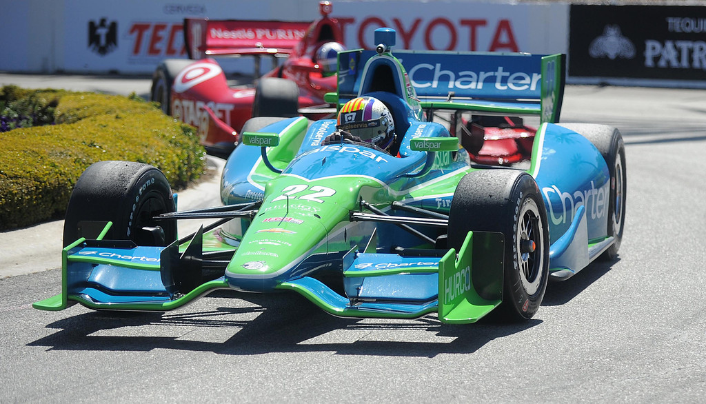 . 04-19-2013-(LANG Staff Photo by Sean Hiller)-Oriol Servia in the practice for the Indycar at the Toyota Grand Prix Friday in Long Beach.
