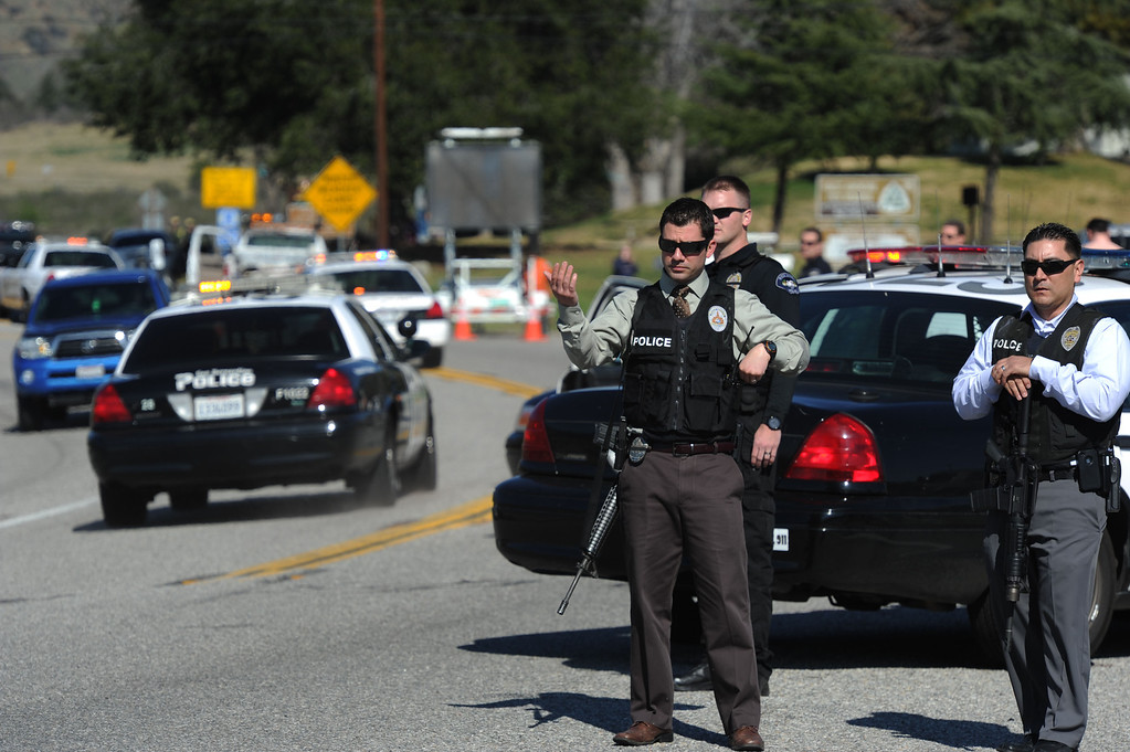 Description of . 38 and Bryant Street near the Mill Street Ranger Station west of Yucaipa February 12, 2013.  Authorities believe that they exchanged gunfire with fugitive Christopher Dorner in the Barton Flats area of the San Bernardino National Forest.  Fish and Game officers spotted a man fitting the description of Dorner driving a white pick-up, and two San Bernardino County Sheriff Deputies exchanged gunfire with him.  GABRIEL LUIS ACOSTA/STAFF PHOTOGRAPHER.