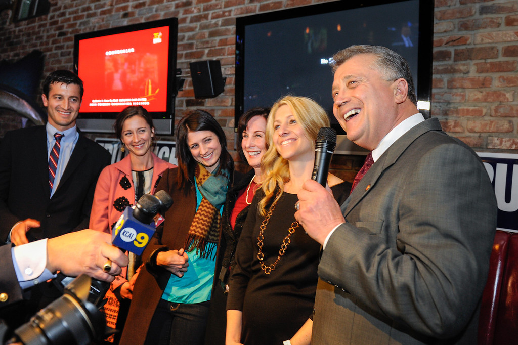 . Carmen Trutanich introduces his family to supporters in his race for Los Angeles City Attorney 2013, Tuesday, March 5, 2013, at Rocco\'s Tavern in Studio City. They are from left, son Nick Trutanich, daughter Caitlin Trutanich, daughter Kristin Shear, wife Noreen Trutanich and daughter Kim Klimas. (Michael Owen Baker/Staff Photographer)
