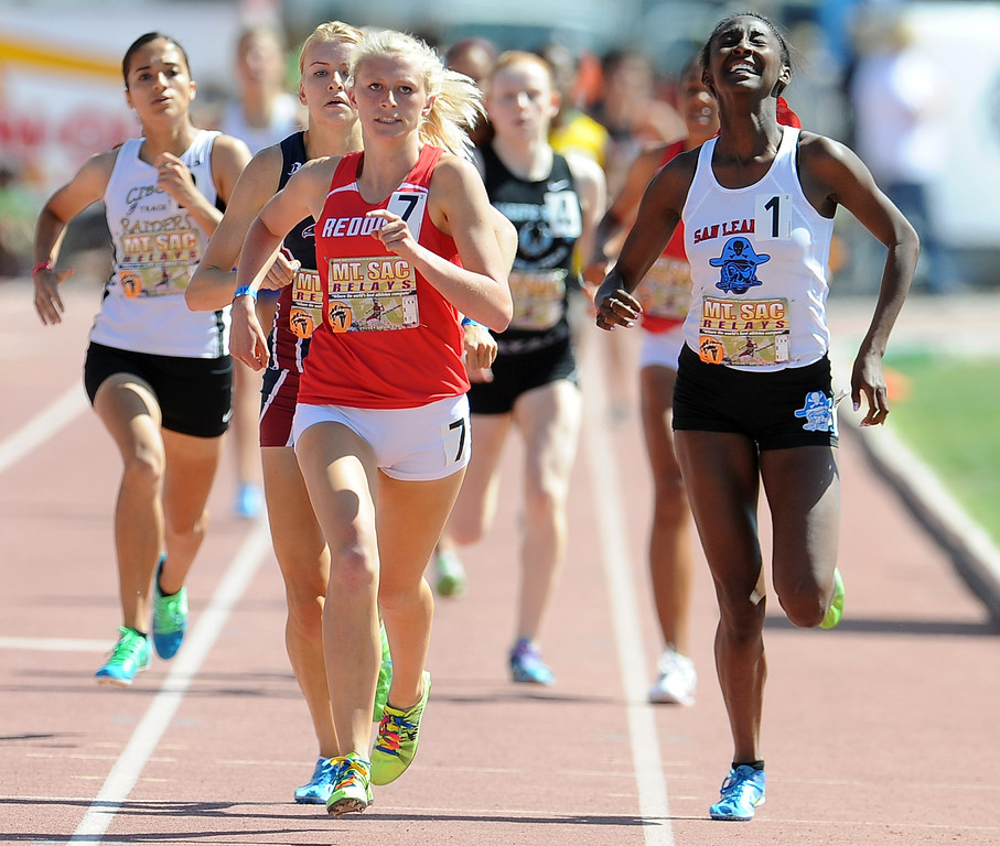 Description of . Kayla Ferron of Redondo Union wins the 800 meter invitational high school during the Mt. SAC Relays in Hilmer Lodge Stadium on the campus of Mt. San Antonio College on Saturday, April 20, 2012 in Walnut, Calif.    (Keith Birmingham/Pasadena Star-News)