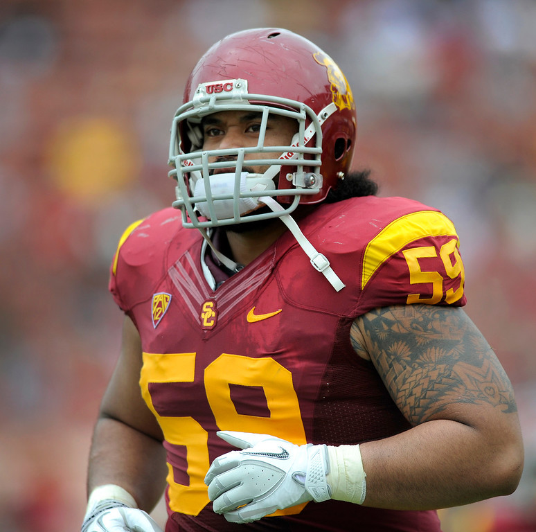 . Guard John Martinez at USC\'s Spring Football Game. (Michael Owen Baker/Staff Photographer)